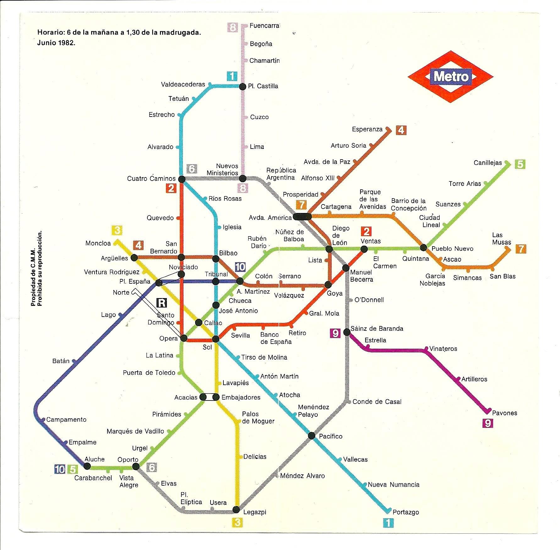 Mapa Metro De Madrid.Asi Era El Plano Del Metro De Madrid En 1982 La Cabeza Llena